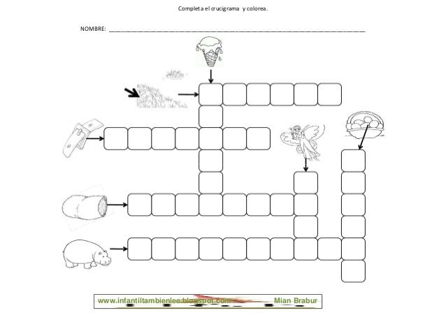 Completa El Crucigrama Y Colorea Nombre Crossword Puzzle