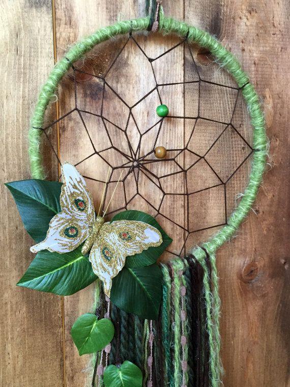 blanc de jardin dreamcatcher  vert tissé à la main papillon