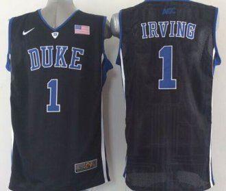 e7eb501295a5 Duke Blue Devils  1 Kyrie Irving Black Basketball Stitched NCAA Jersey
