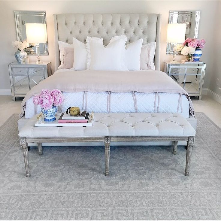 Bedroom Ideas Bedroom Decor Bedroom Inspiration Neutral Glam Bedroom Tufted Bed Mirrored Furniture Night Small Couch In Bedroom Glam Bedroom Bedroom Decor