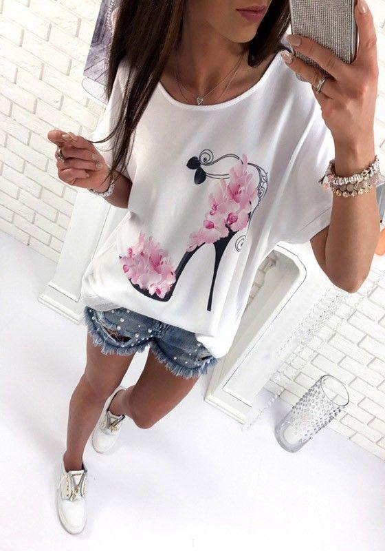 Weiße Blumen Hochhacken Schuhe Drucken Rundhals Kurzarm Beiläufige T-Shirt Oversize Mode Damen Oberteile
