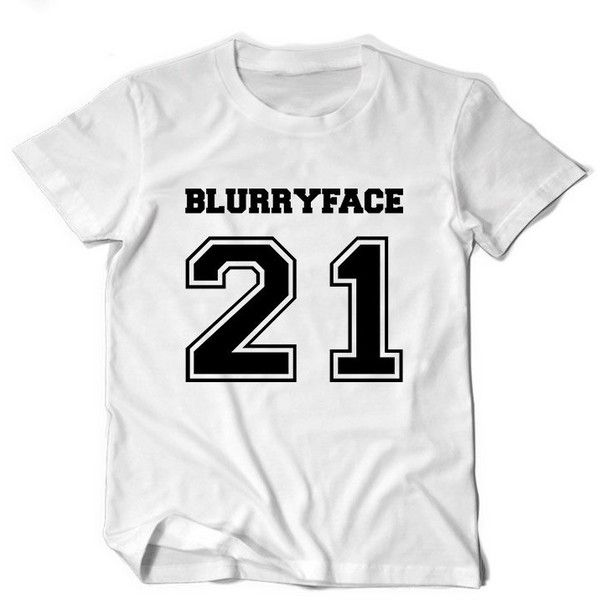 Twenty one pilots Blurryface stressed out band tee t shirt tumblr top ($13) ❤ liked on Polyvore featuring tops, t-shirts, long white shirt, pattern t shirt, tee-shirt, long t shirts and long white t shirt