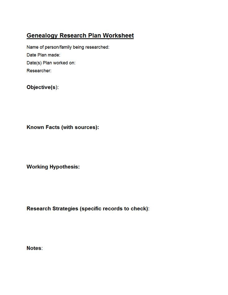 Genealogy Research Plan Worksheet  Genealogy