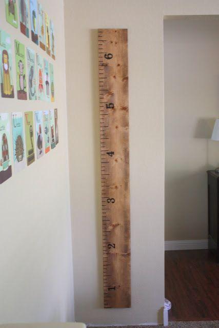 Build this adorable oversized ruler measuring chart.   21 Pottery Barn Inspired DIYs