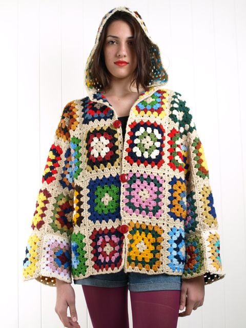 crochet granny square jacket coat free pattern