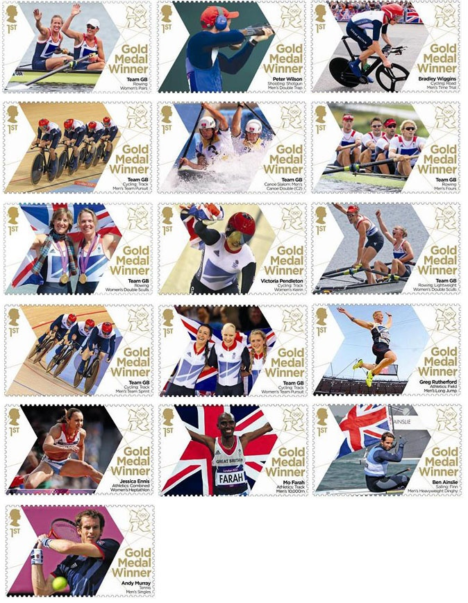 Image of team GB gold medal winners, first class stamps