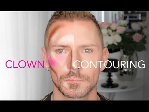 "Wayne Goss quick tutorial on ""clown contouring."" Gives an effect which looks to me like how the Back Street Boys looked in those 90's music videos."