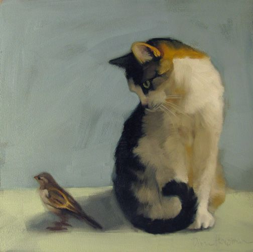 """""""In the Shadow"""" Diane Hoeptner. Oil on wood. The artist writes: """"The subjects of this painting were photographed in two different places…The sparrow frequents the outdoor cafes at the Cleveland Zoo and kitty waits for adoption at the Cleveland Animal Protective League…  Kitty considered pouncing and decided against it."""" Elissa Winer"""