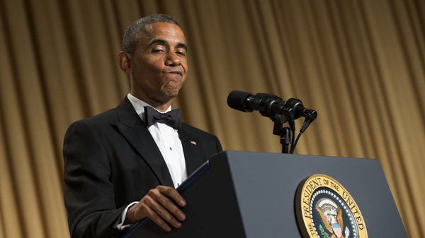 """President Obama during his speech at the White House Correspondents' Association dinner in Washington, D.C., Saturday night. """"Michele Bachmann predicted I would bring about the Biblical end of days. Now that's big. ... Lincoln, Washington — they didn't do that."""""""