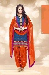 Blue Color Unstitched Banarasi Jacquard Fabric Patiala Suit With Beautiful Traditional Embroidery Work