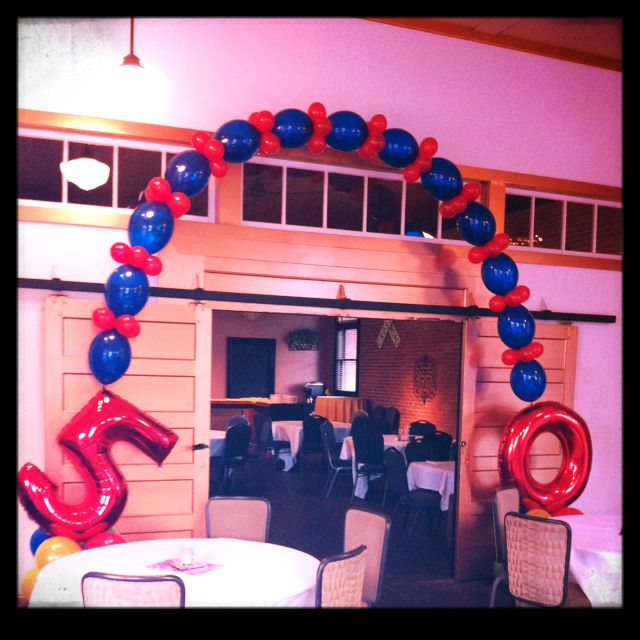 A 50th birthday balloon arch.