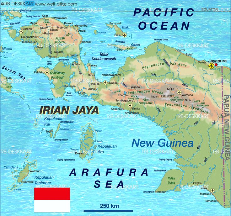 Map of Irian Jaya (Indonesia)