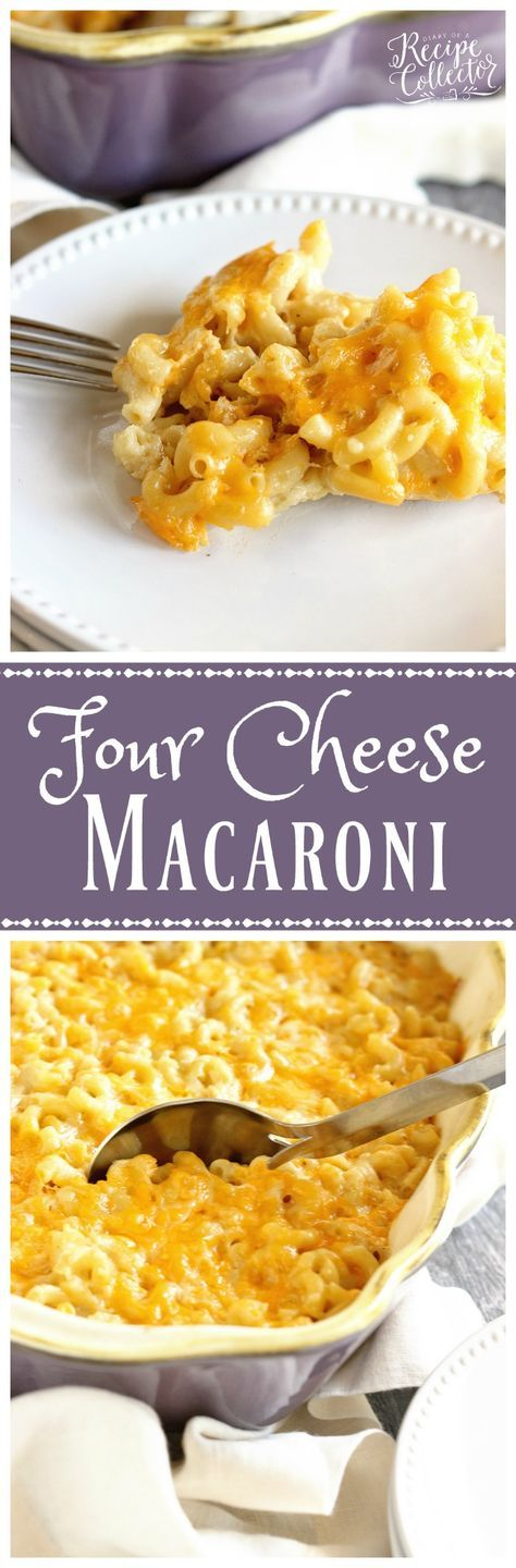 Four Cheese Macaroni - A delicious recipe for homemade macaroni filled with cheddar, muenster, pepperjack, and parmesan cheese!