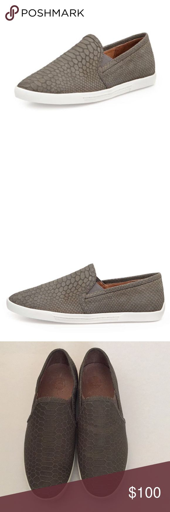 Joie Snake Print Kidmore Sneaker The street wear staple gets a chic update in python stamped leather. An off duty classic with luxe appeal, the Kidmore slip on sneaker is a wardrobe must! Leather. Size is European 37.5/ US 7. Color is a grey/taupe. Joie Shoes Sneakers