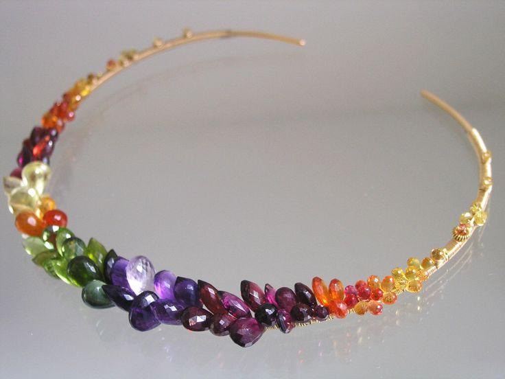 Rainbow Gemstone Encrusted Gold Filled Collar, Colorful, Sapphire, Amethyst, Peridot, Artist Made, Distinctive, Original Design, Signature by bellajewelsII on Etsy https://www.etsy.com/listing/212541113/rainbow-gemstone-encrusted-gold-filled