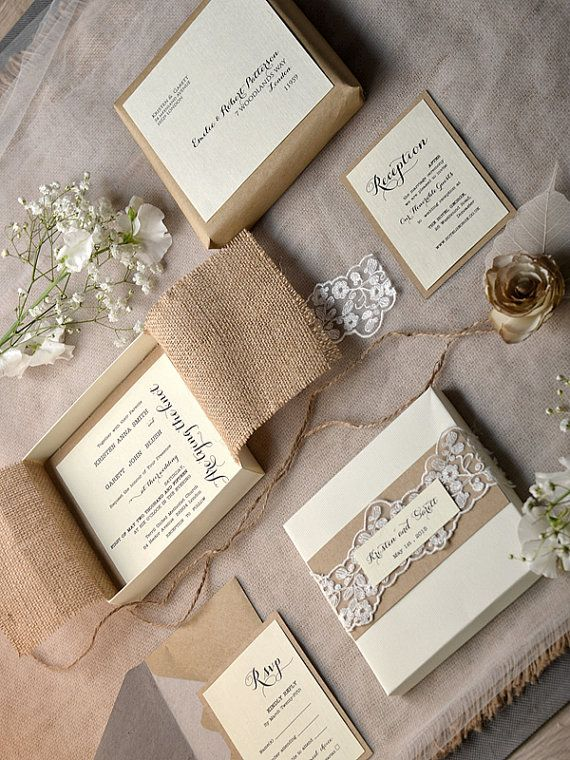 Lace and Buralp Wedding Invitation Vintage by 4LOVEPolkaDots