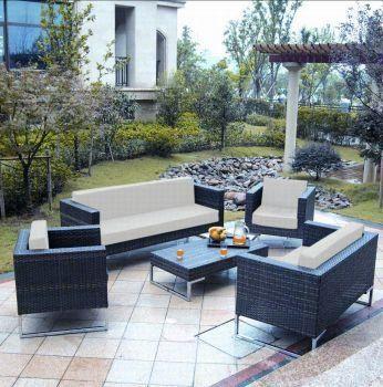 Hochwertige Rattan Sitzgruppe Teilig Aus Polyrattan Farbe Schwarz Glatt Mit Cremefarbenen Bezugen Gartenmobel Set St Tropez Aus Rattan Siehe Mehr Unter