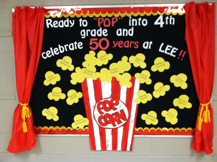 School bulletin board ~  Ready to PoP!    Popcorn and Movie themed!