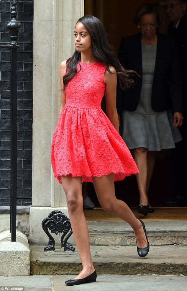 Malia (pictured here outside 10 Downing Steeet in London) will graduate next year from th...