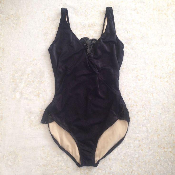 VTG Nicole Wior Women Swimsuit Black Lace One Piece High Waist Bathing Suit USA #NicoleWior