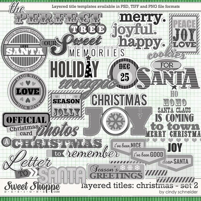 Cindy's Layered Titles: Christmas - Set 2 by Cindy Schneider