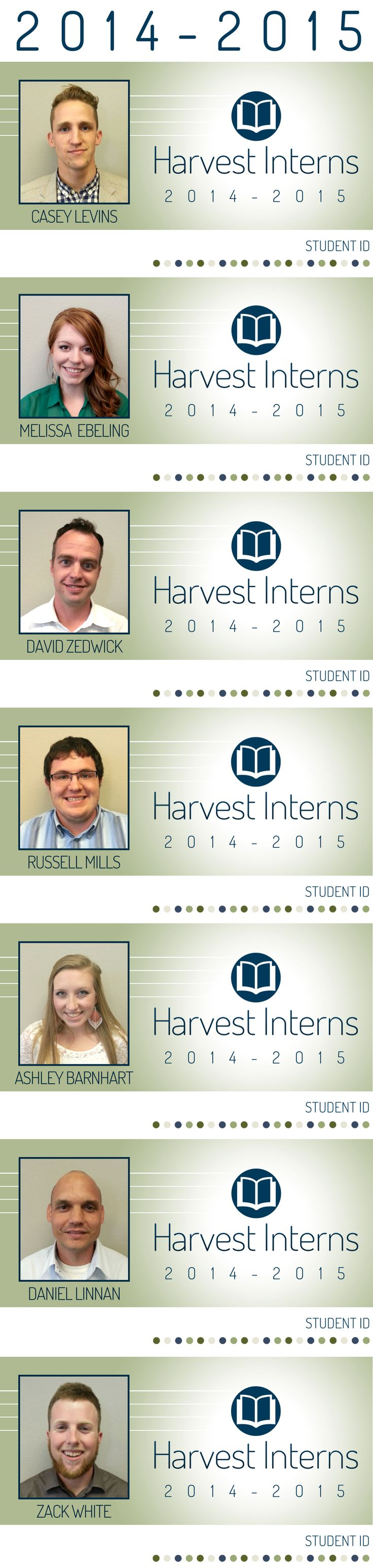 Student ID Cards ~ Harvest Church in Meridian, Idaho ~ Harvest Interns ~ Click for details.