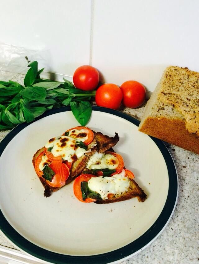 Bruschetta toast. ALL ingredients grown at home. Even made the bread and cheese.
