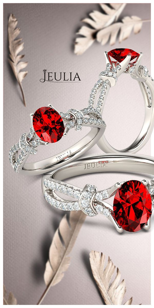 Bow Knot Oval Cut Created Ruby Engagement Ring #Jeulia