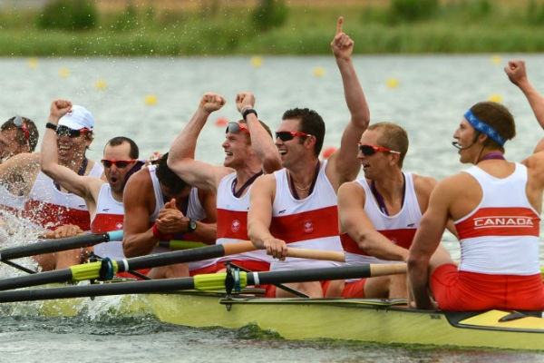 Canada's men's eight grabbed silver, Wednesday on Dorney Lake, finishing second to the German team.