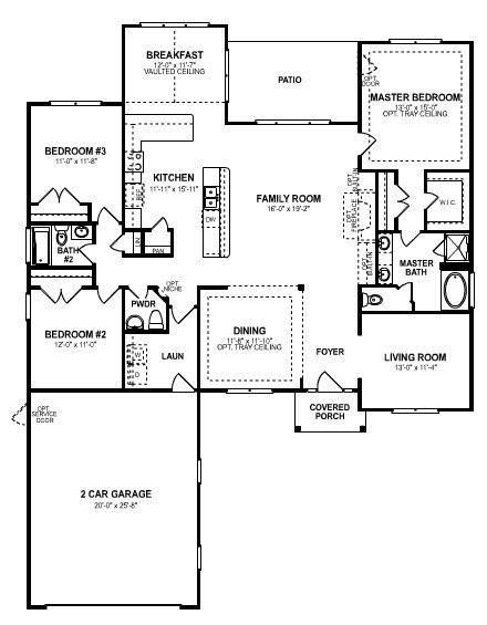 3 bedroom open floor plan an elegant single story 3 - Single story four bedroom house plans ...