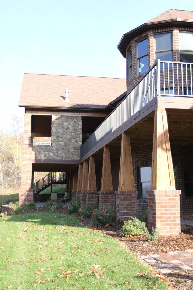 Exterior Columns Tapered Wood Columns With Flat Panels On Brick Pillars B