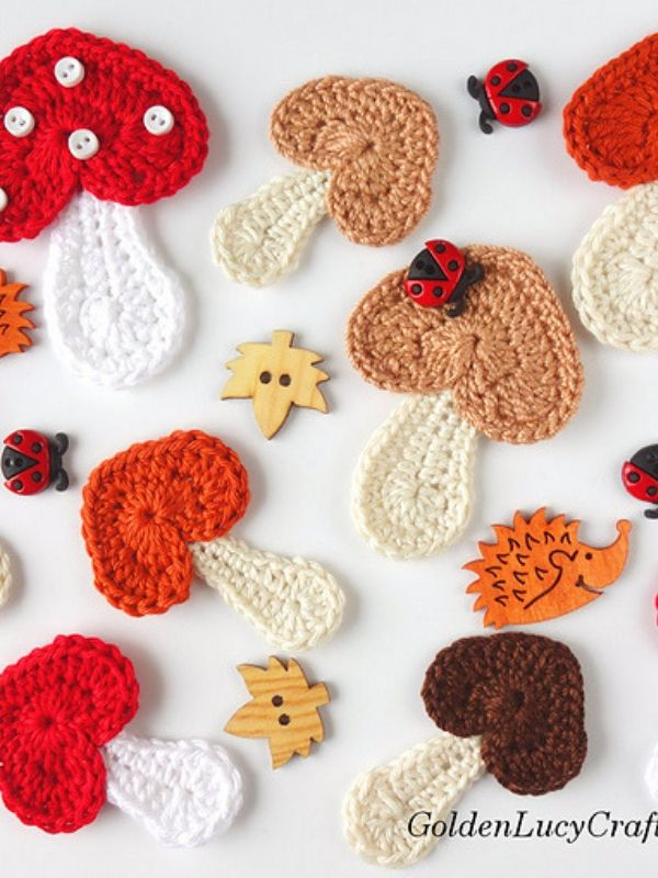 Mushroom Applique Free Crochet Pattern | Crochet | Pinterest
