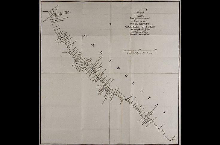 Sebastián Vizcaíno: mapa de California según el viaje de 1602 (publicado en 1802)  Junípero Serra y las misiones de California | Diseñar America