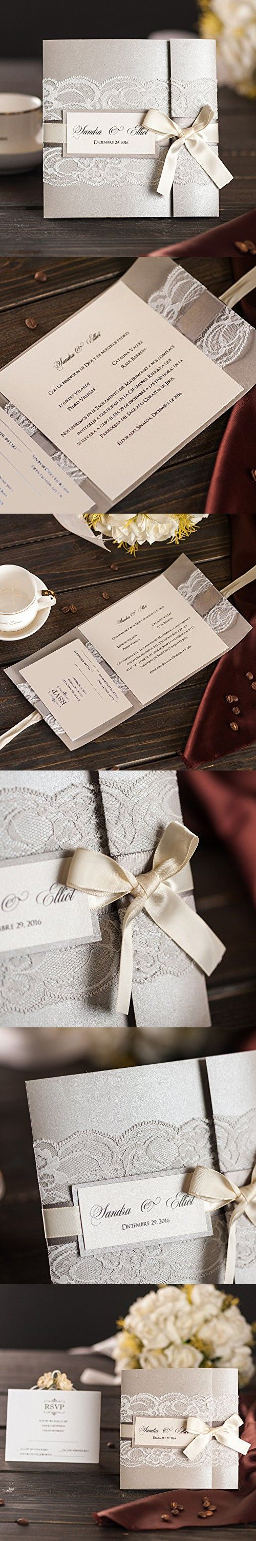 50x Elegant Silver Wedding Invitations Kits With