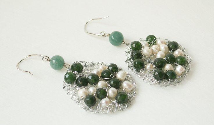 Wire crochet earrings Silver drop earrings Agata and  Pearl earrings.Dangle Earring Bridal earrings Wire crochet jewelry Wire jeawelry by UnikacreazioniShop on Etsy