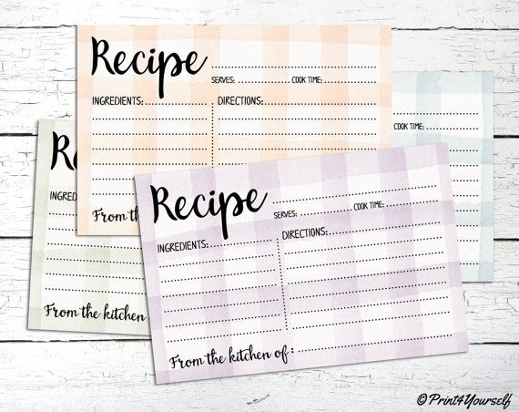 Watercolour Recipe Cards // Instant Download by Print4Yourself