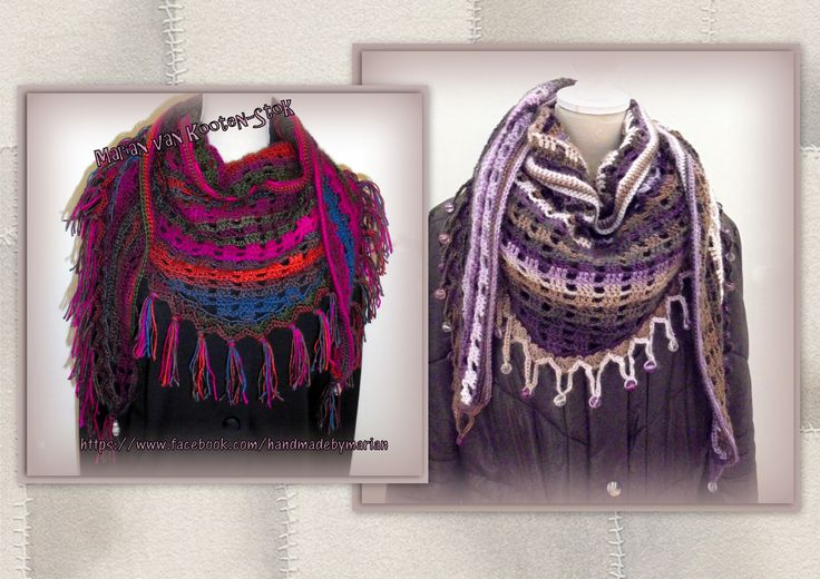 Deze sjaals zijn gehaakt met haaknaald 5,5 en ca 150 gram Fenna van de Wibra. Kijk voor het patroon ed op https://www.facebook.com/handmadebymarian