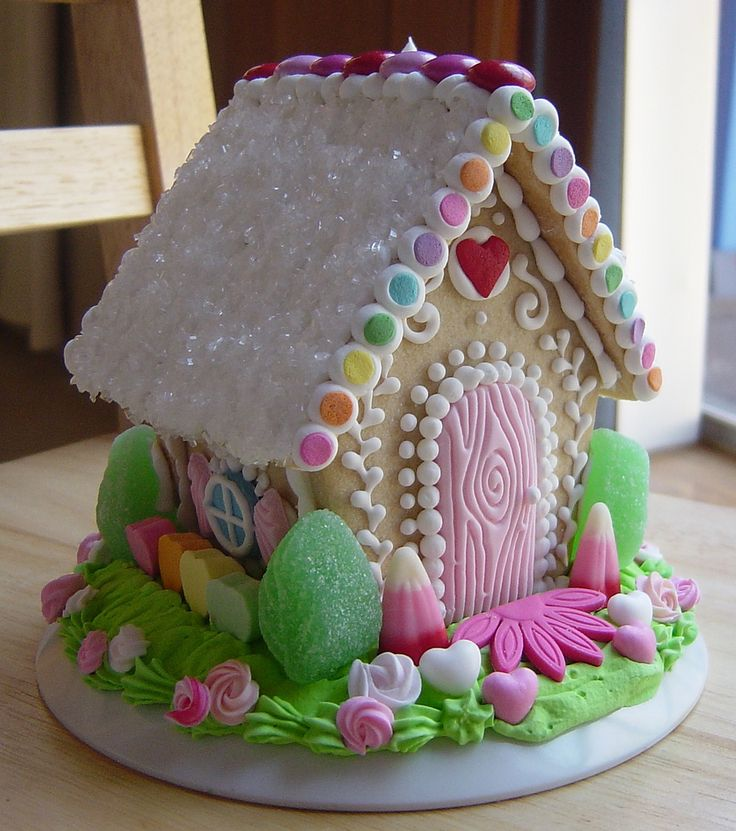 Spring gingerbread house, would be cute for Easter!: Doors, Pastel, Cake, Idea, Sweet, Gingers Breads House, Candy, Easter Bunnies, Gingerbread House