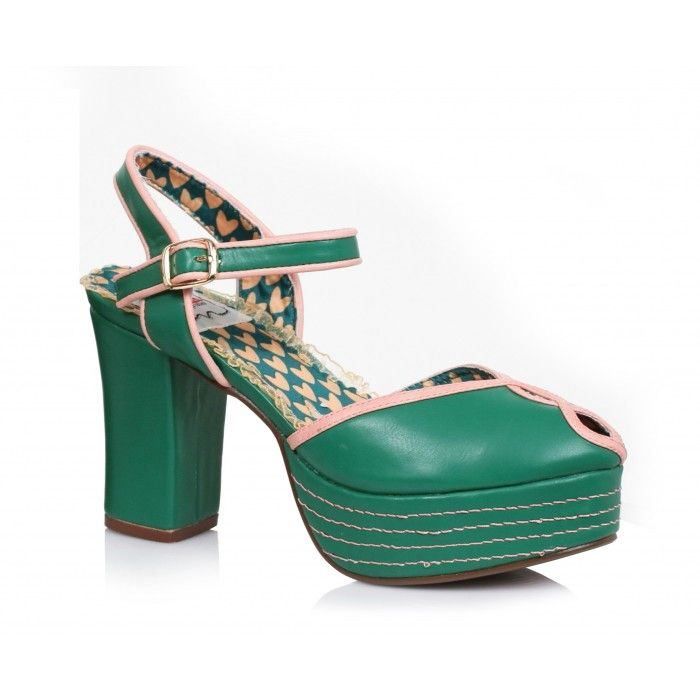 Bettie Page Shoes - Donna heels Green - Schoenen