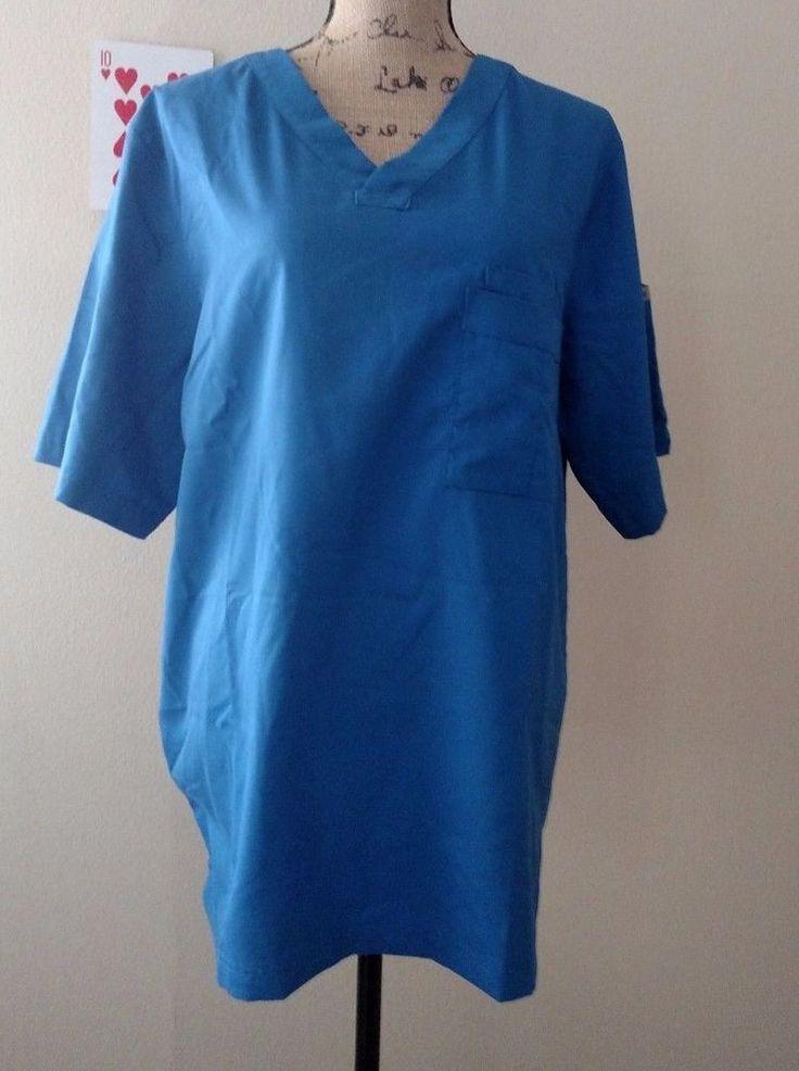 Greys Anatomy Mens Scrub Top M Bright Blue Pullover Front and Sleeve Pocket   #GreysAnatomy