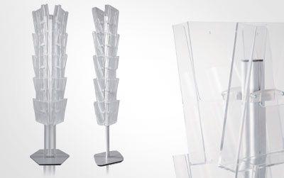 Espositore con piantana in alluminio ossidato argento che è possibile allestire in base alle proprie necessità con tasche porta depliant A4 in materiale plastico trasparente.   Prodotto ideale per pubblicizzare molteplici prodotti, offerte, promozioni.   Adatto per punti vendita, fiere, centri commerciali, agenzie di viaggio, ecc.