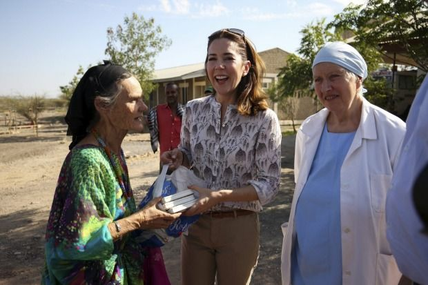 Crown Princess Mary with Australian Valerie Browning  and Scottish doctor Margaret McDougald at the Barbara May Maternity Hospital in Mille, Ethiopia.