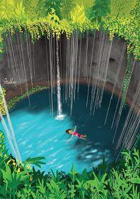 Ik kil Cenote, Mexico #art #mexico #illustration #cenote #travel