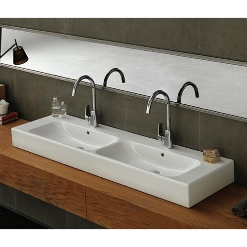 Rectangular Double White Ceramic Wall Mounted or Vessel Bathroom Sink