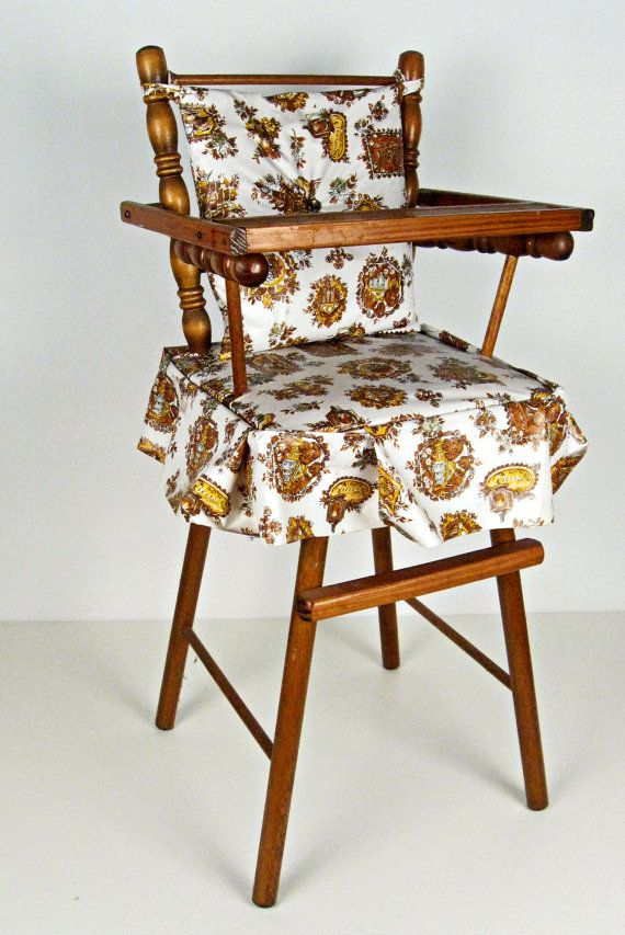 Vintage Miniature Wood Doll High Chair