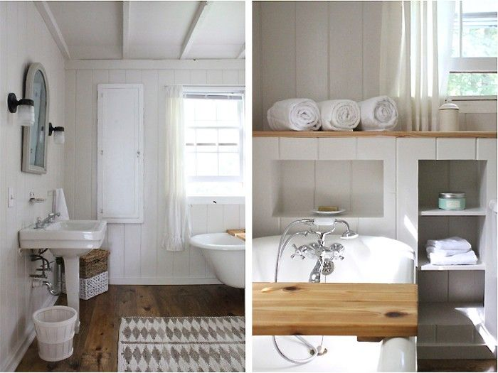 Above: Cottage details such as a sink from Habitat for Humanity Restoreand a recessed nook, enhance the charm of this new oasis. A vintage-.Kingston Brass (currently on sale at for $162) adds a dash of relaxed luxury.