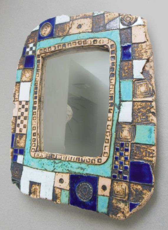 Ceramic Hand made mirror frame by mARTHAstudio on Etsy, €40.00
