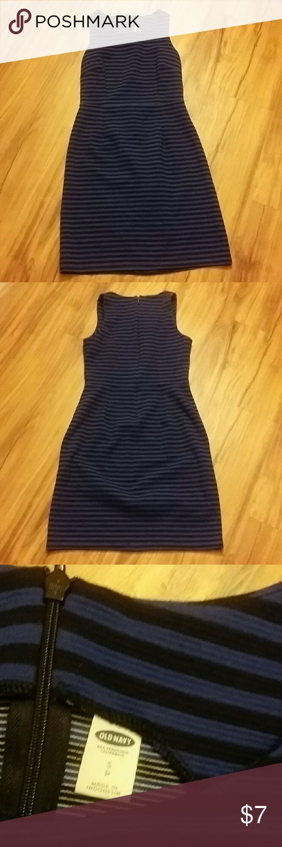 Cute old Navy striped dress! Like New condition, no flaws. Cute purple and black stripes, hits at the knee. Zipper back. Old Navy Dresses Midi