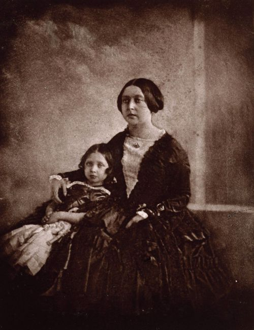 The first photograph ever taken of Queen Victoria, with her daughter the Princess Royal, 1844.