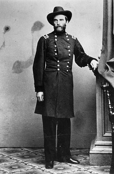 Civil War general and chief engineer of the Union Pacific Railroad during constructon Grenville M Dodge